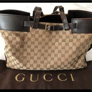 Authentic Gucci GG pattern Tote Bag Canvas Leather